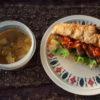 茄子のトマト煮サンドとダルスープ弁当