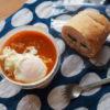 野菜スープon玉子ときゅうりサンド弁当