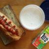 フランスパンのホットドッグとポタージュスープ弁当