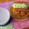 黒パンサラダサンド2種と紅イモのポタージュ弁当