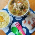 野菜と鶏挽肉のスープ、安納芋のスープ弁