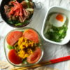 かぼちゃサラダ、島らっきょう炒め弁当