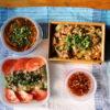 明太そうめんちゃんぷるー、焼茄子のベトナム風サラダ