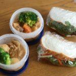 野菜サラミチーズサンド弁当