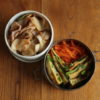 白菜漬け炒めと葱焼き弁当